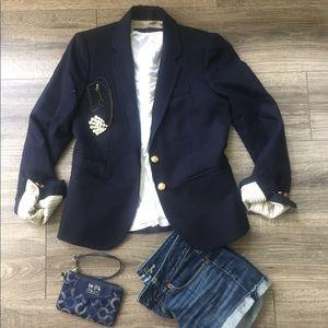 J Crew Schoolboy navy blue blazer size 0